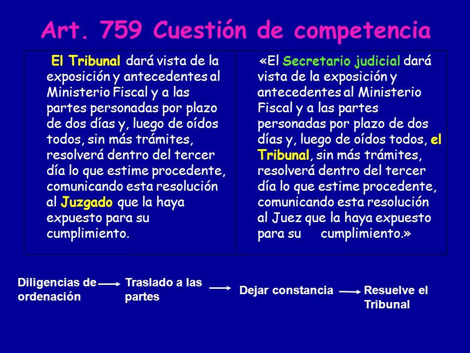 Art. 759 Cuestión de competencia