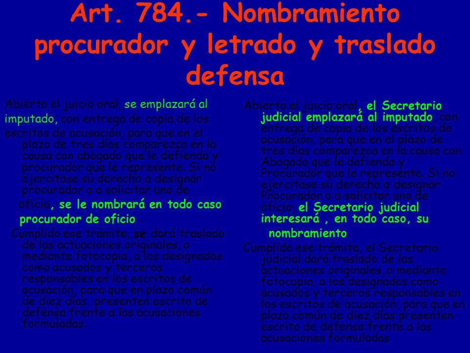 Art. 784.- Nombramiento procurador y letrado y traslado defensa