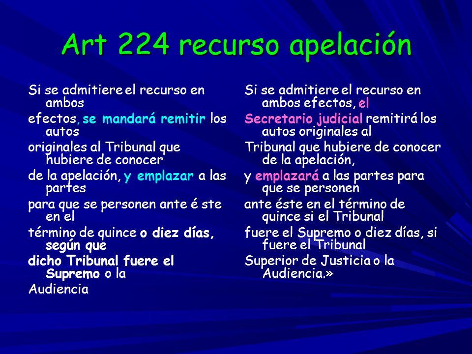 Art 224 recurso apelación Si se admitiere el recurso en ambos