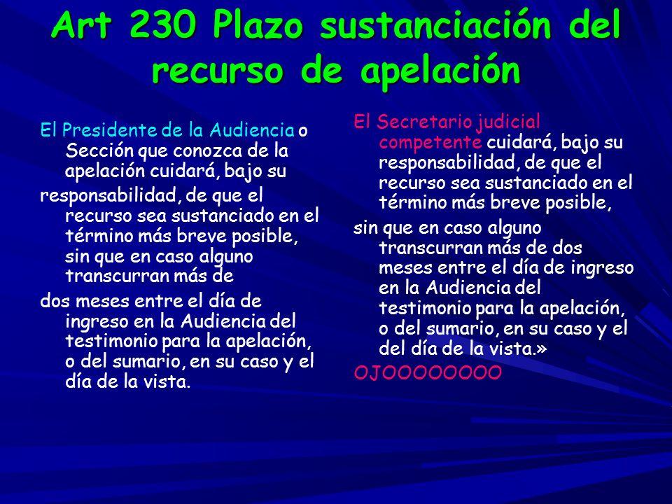 Art 230 Plazo sustanciación del recurso de apelación