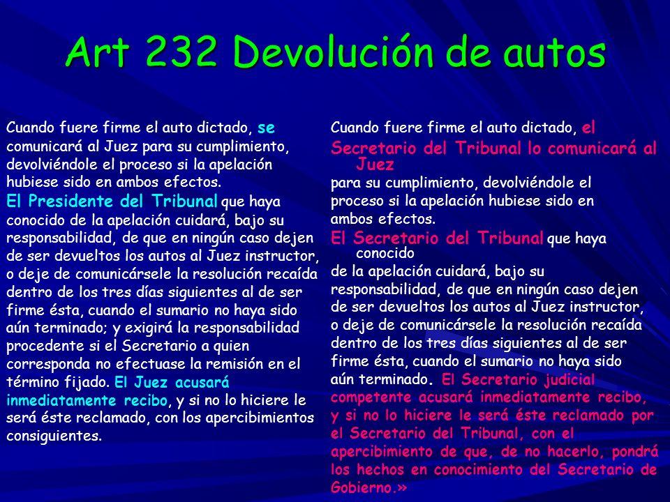 Art 232 Devolución de autos