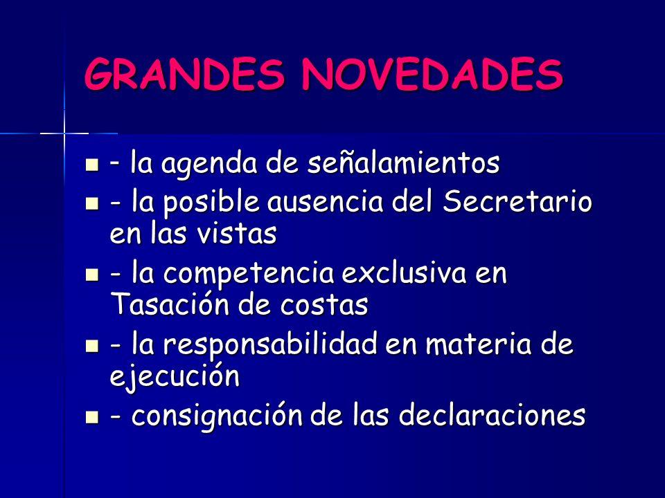 GRANDES NOVEDADES - la agenda de señalamientos