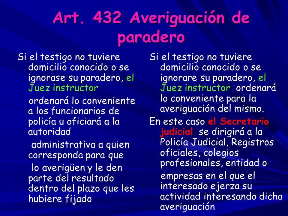 Art. 432 Averiguación de paradero