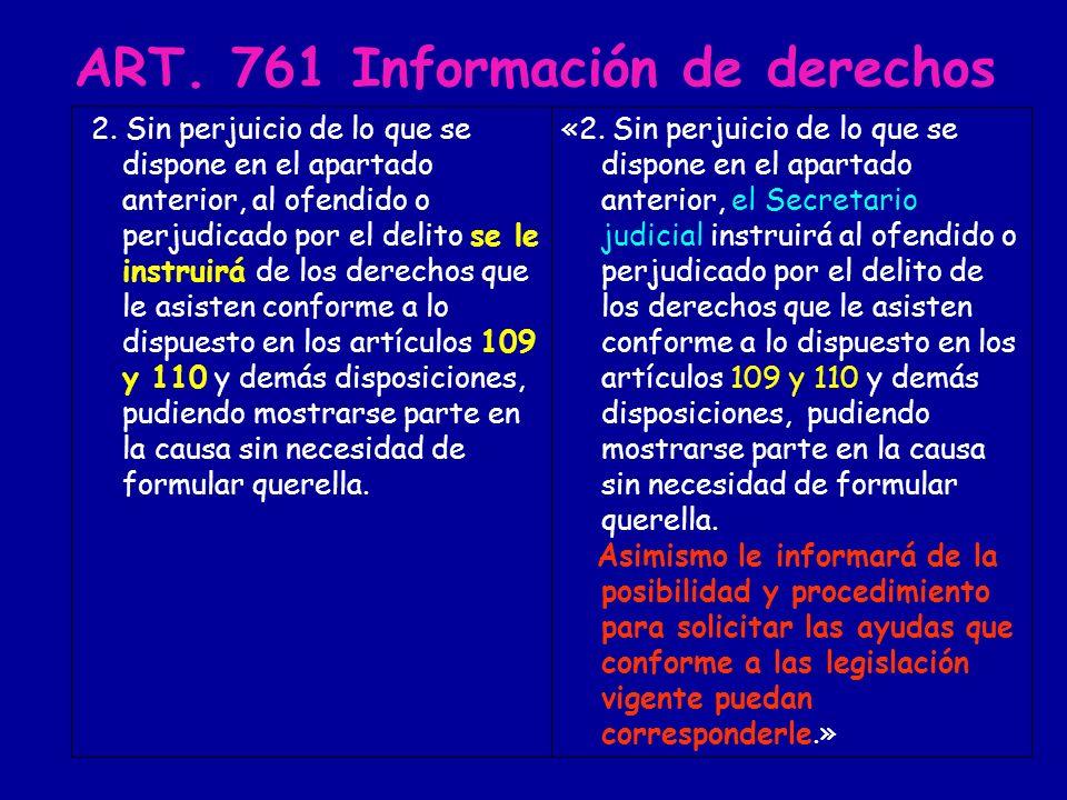 ART. 761 Información de derechos