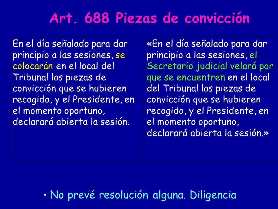 Art. 688 Piezas de convicción