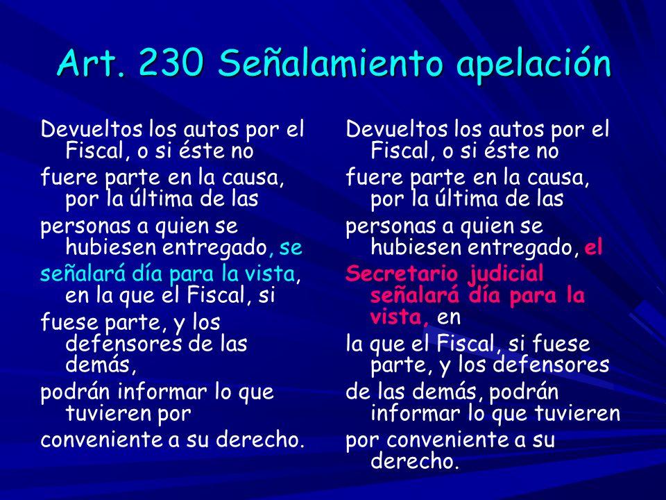 Art. 230 Señalamiento apelación