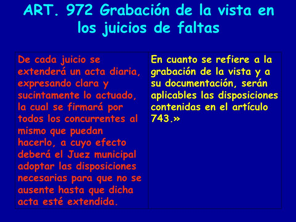 ART. 972 Grabación de la vista en los juicios de faltas