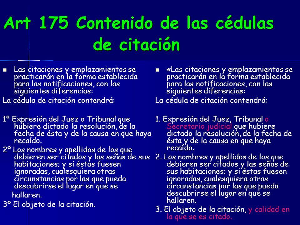 Art 175 Contenido de las cédulas de citación