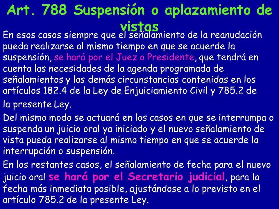 Art. 788 Suspensión o aplazamiento de vistas