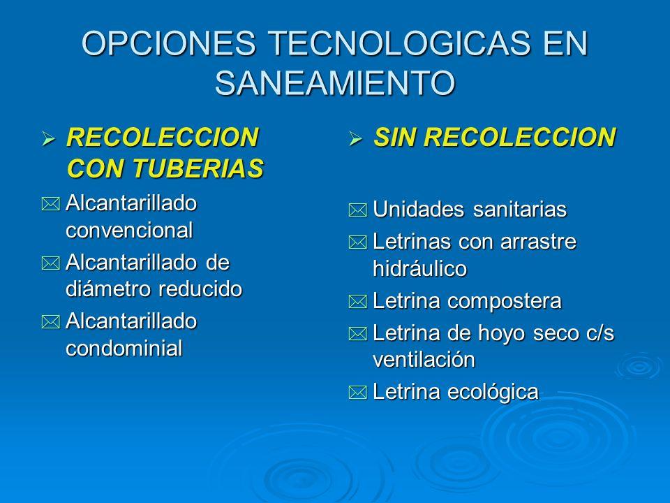 OPCIONES TECNOLOGICAS EN SANEAMIENTO