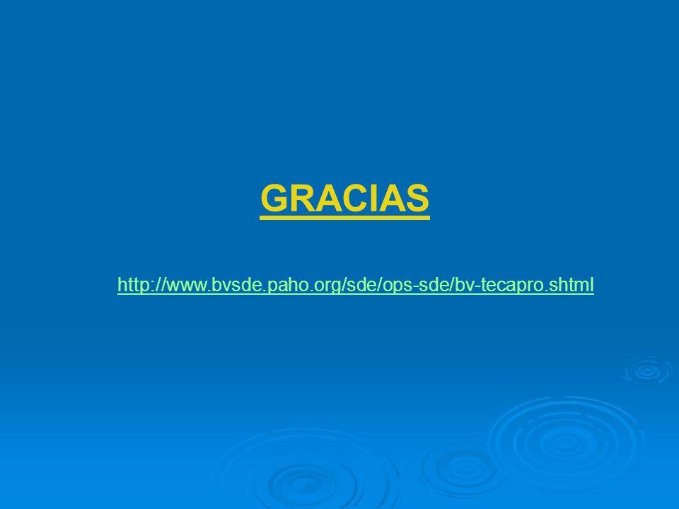 GRACIAS http://www.bvsde.paho.org/sde/ops-sde/bv-tecapro.shtml