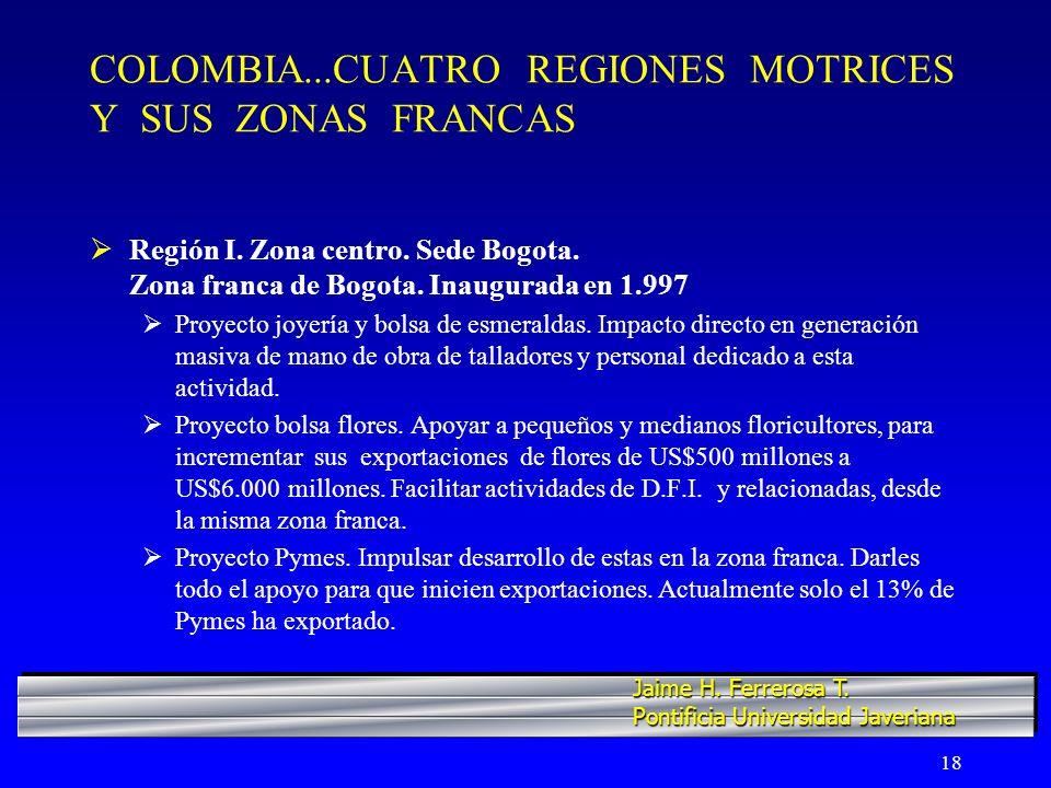 COLOMBIA...CUATRO REGIONES MOTRICES Y SUS ZONAS FRANCAS