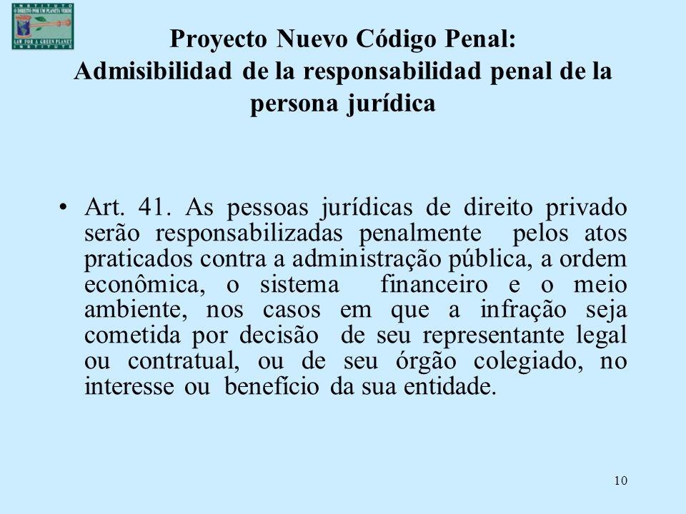 Proyecto Nuevo Código Penal: Admisibilidad de la responsabilidad penal de la persona jurídica
