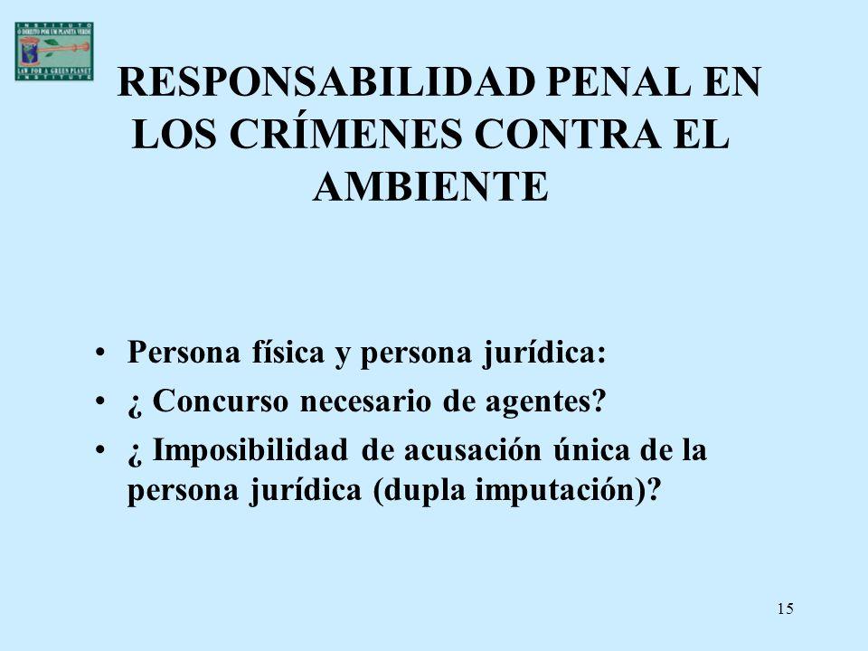 RESPONSABILIDAD PENAL EN LOS CRÍMENES CONTRA EL AMBIENTE