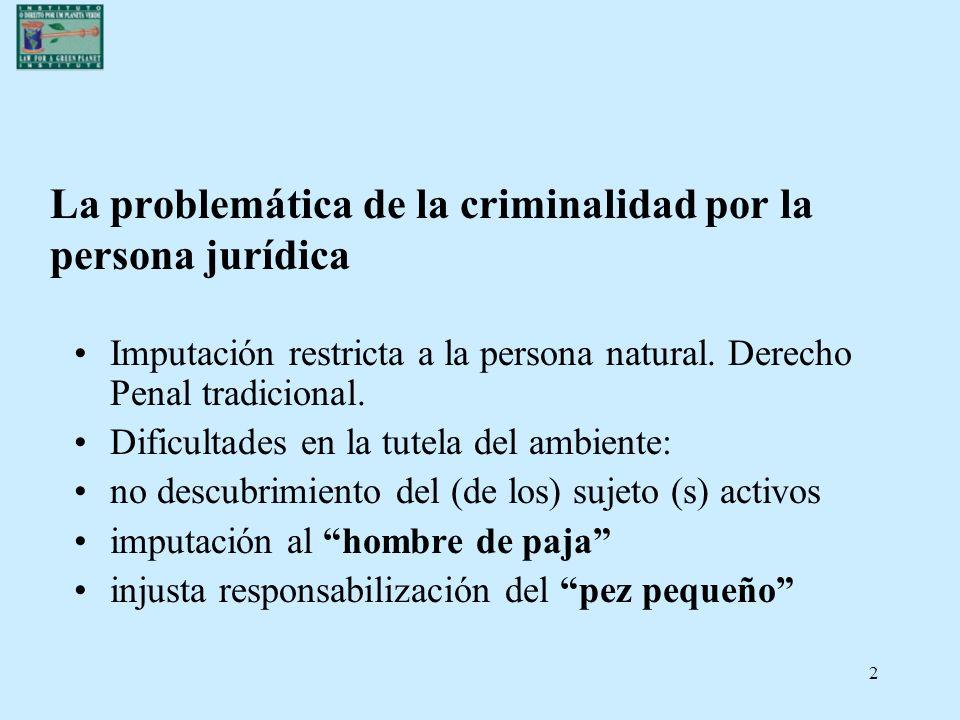La problemática de la criminalidad por la persona jurídica