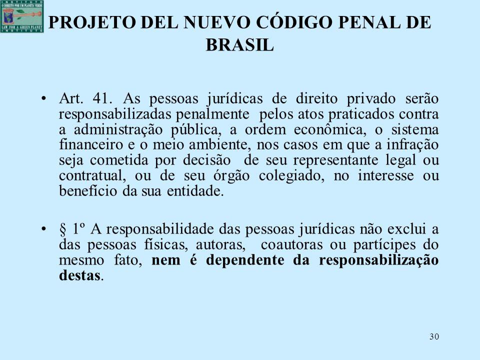 PROJETO DEL NUEVO CÓDIGO PENAL DE BRASIL