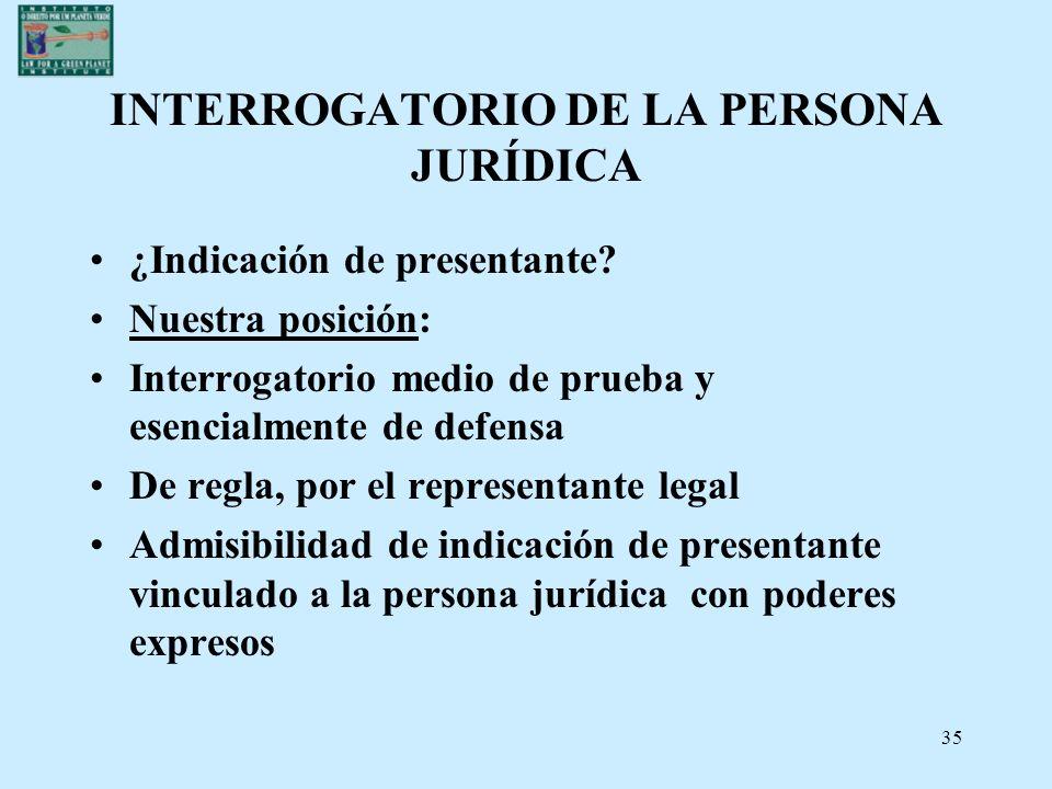 INTERROGATORIO DE LA PERSONA JURÍDICA