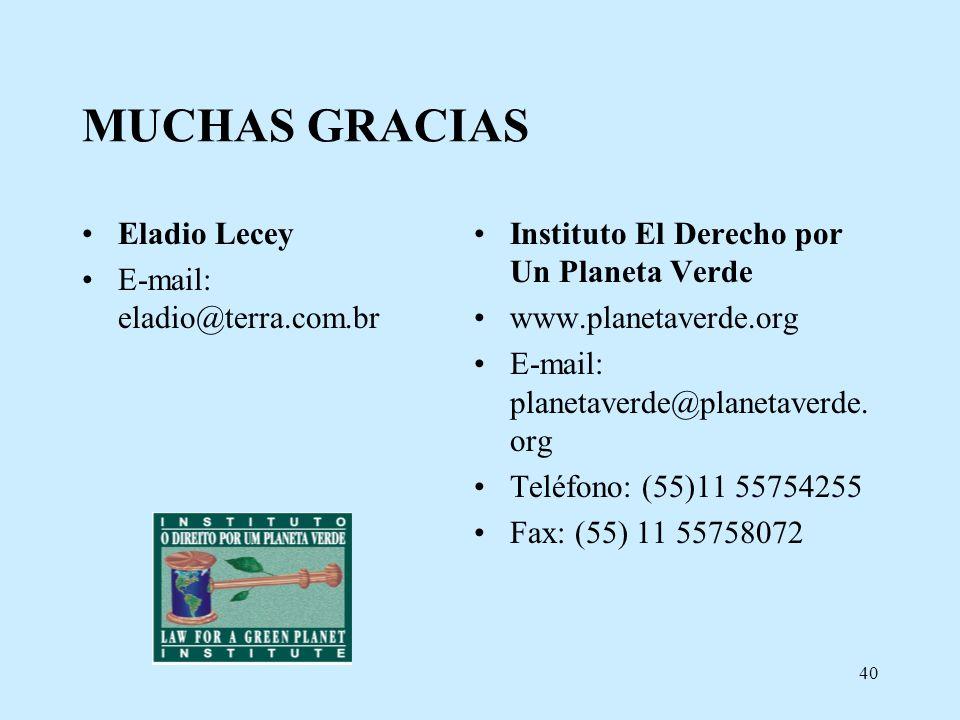 MUCHAS GRACIAS Eladio Lecey E-mail: eladio@terra.com.br