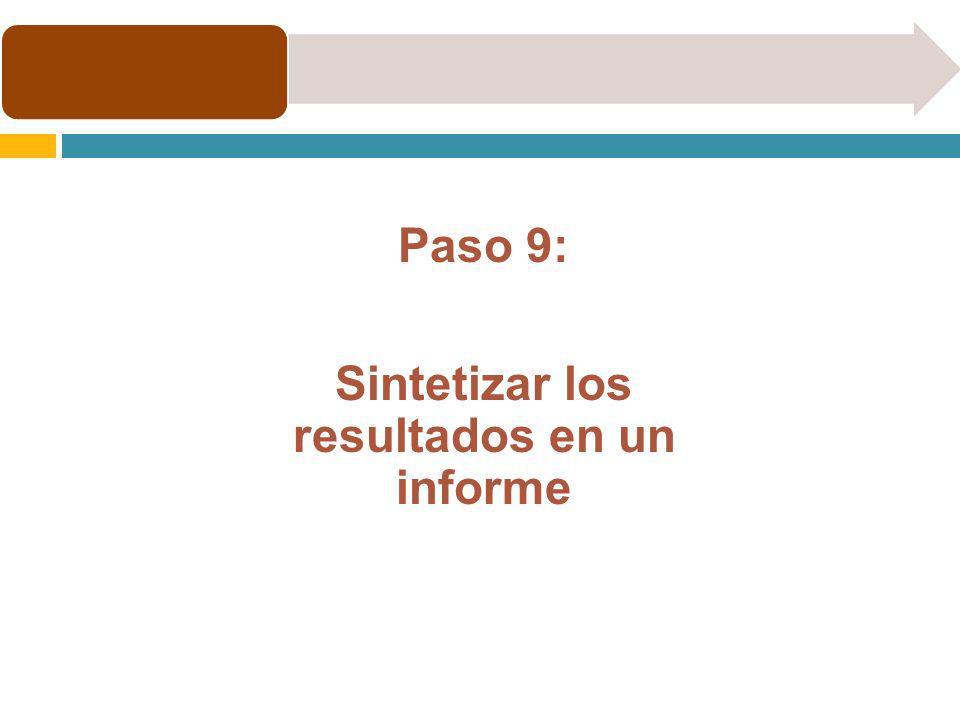 Sintetizar los resultados en un informe