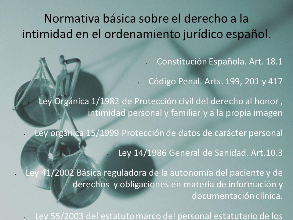 3 Normativa básica sobre el derecho a la intimidad en el ordenamiento jurídico español. Constitución Española. Art. 18.1.