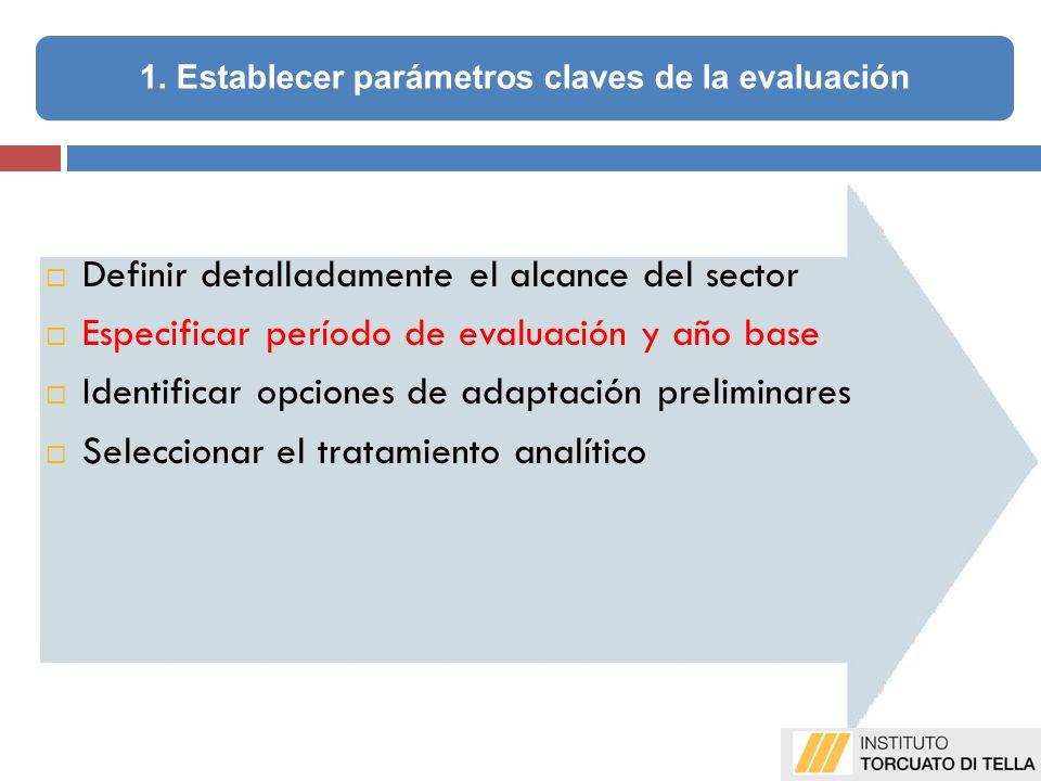 1. Establecer parámetros claves de la evaluación