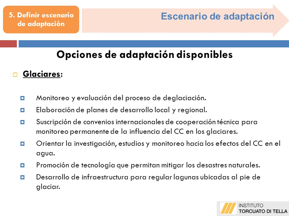 5. Definir escenario de adaptación