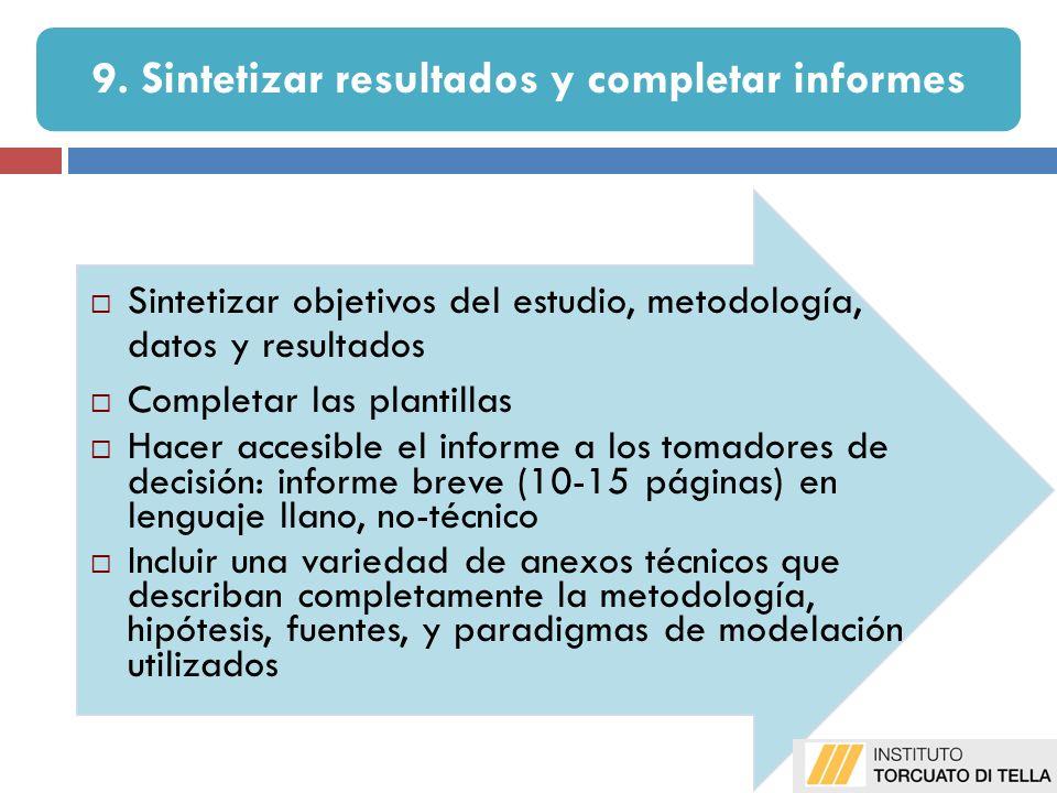 9. Sintetizar resultados y completar informes