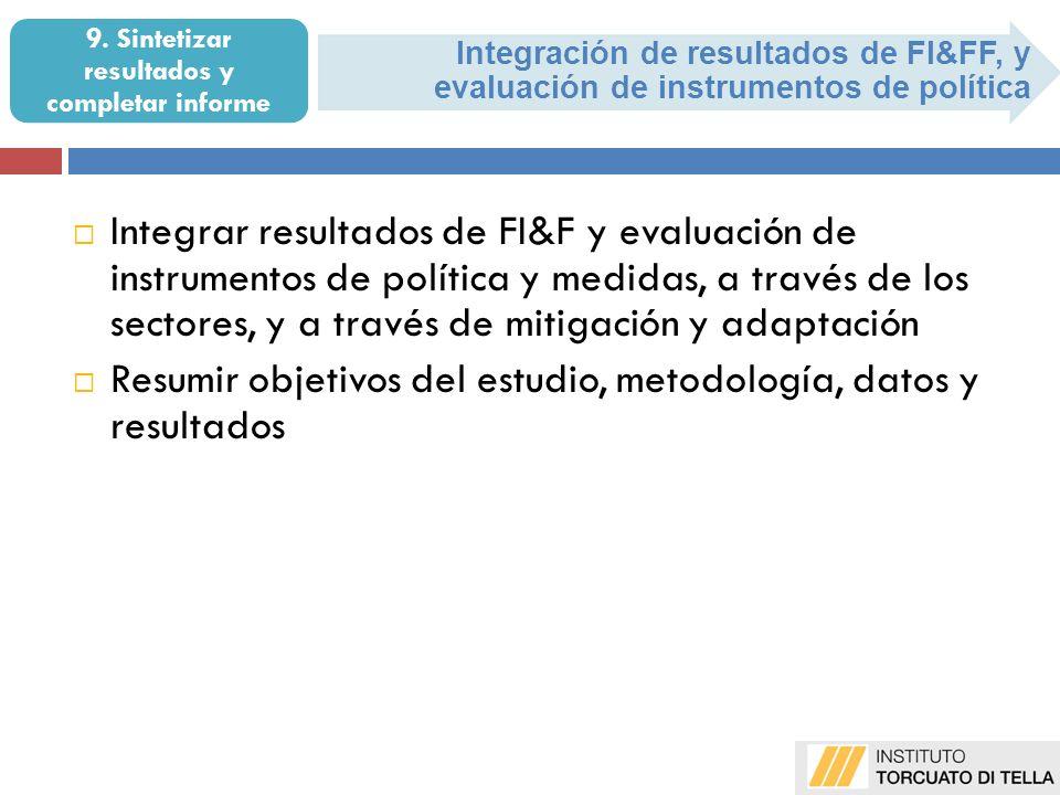 9. Sintetizar resultados y completar informe