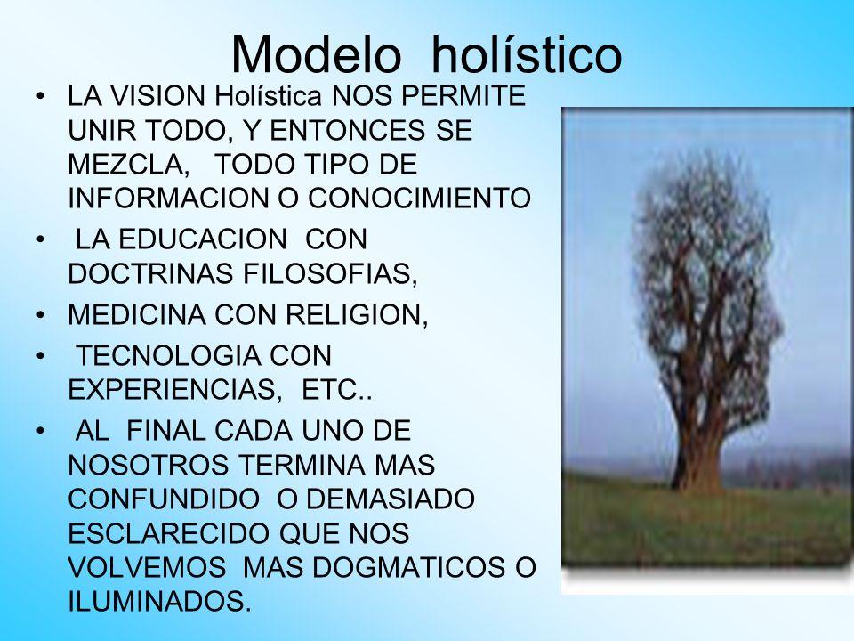 Modelo holístico LA VISION Holística NOS PERMITE UNIR TODO, Y ENTONCES SE MEZCLA, TODO TIPO DE INFORMACION O CONOCIMIENTO.