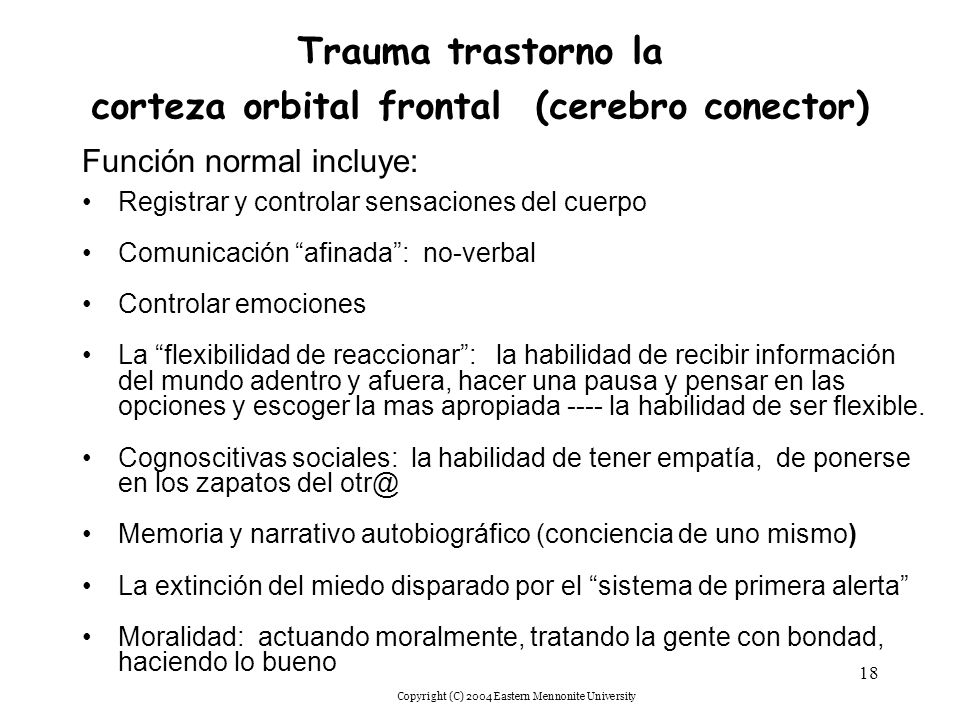 Trauma trastorno la corteza orbital frontal (cerebro conector)