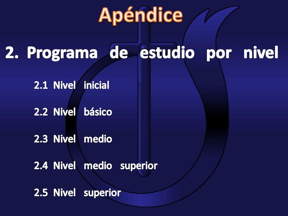 Apéndice 2. Programa de estudio por nivel 2.1 Nivel inicial