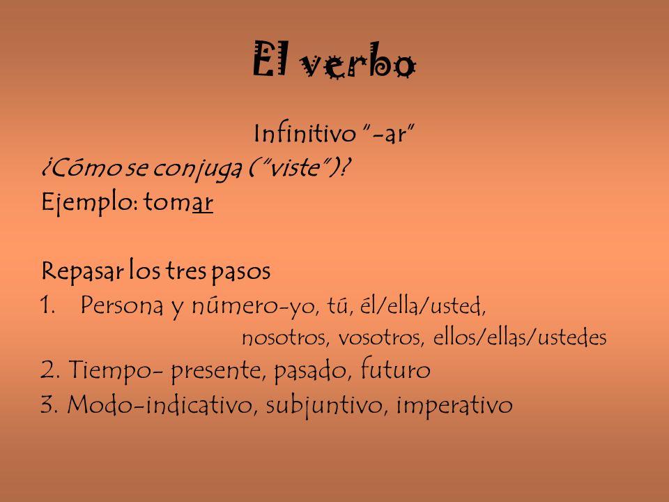 El verbo Infinitivo -ar ¿Cómo se conjuga ( viste ) Ejemplo: tomar