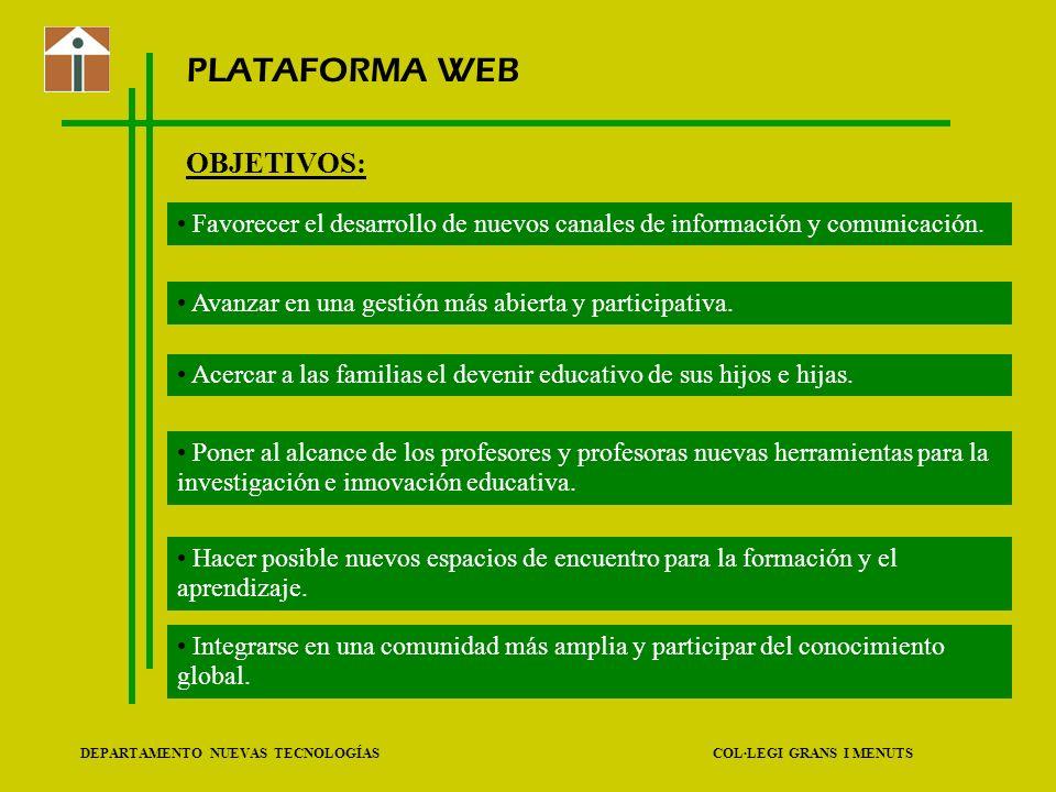 PLATAFORMA WEB OBJETIVOS: