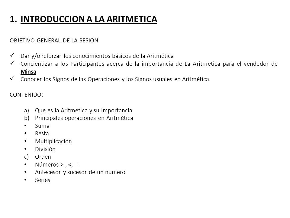 INTRODUCCION A LA ARITMETICA