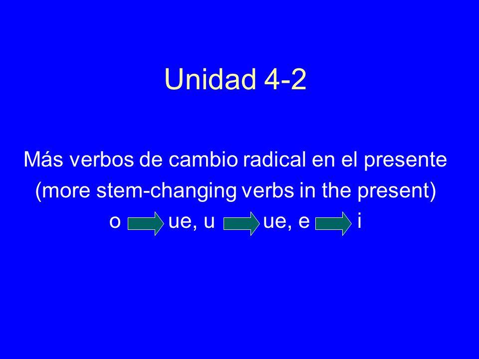 Unidad 4-2 Más verbos de cambio radical en el presente