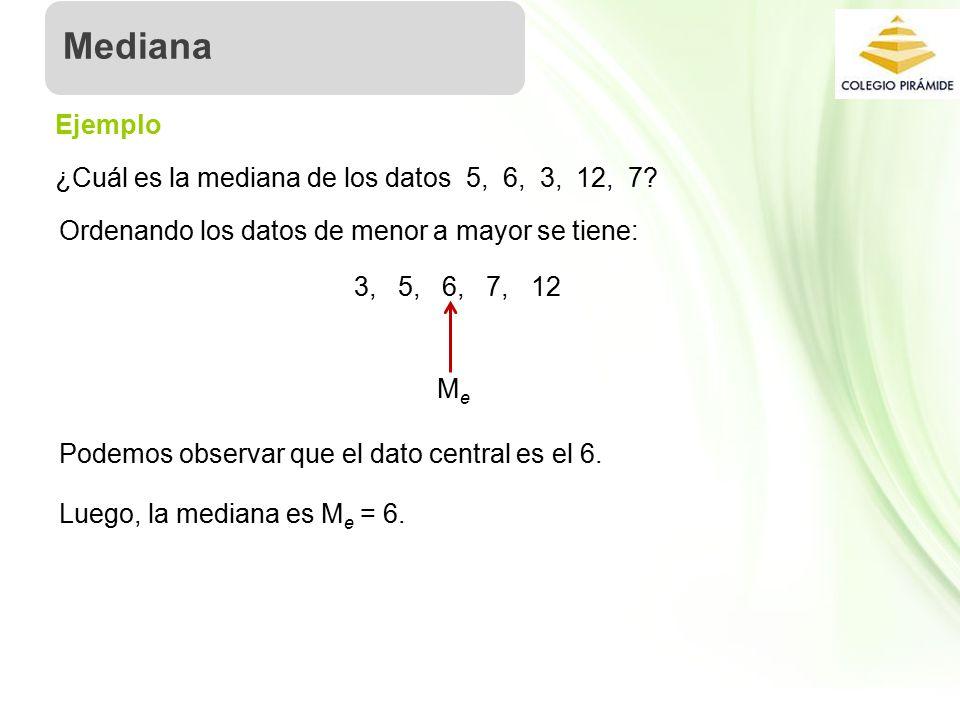Mediana Ejemplo ¿Cuál es la mediana de los datos 5, 6, 3, 12, 7