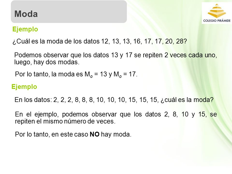 Moda Ejemplo. ¿Cuál es la moda de los datos 12, 13, 13, 16, 17, 17, 20, 28