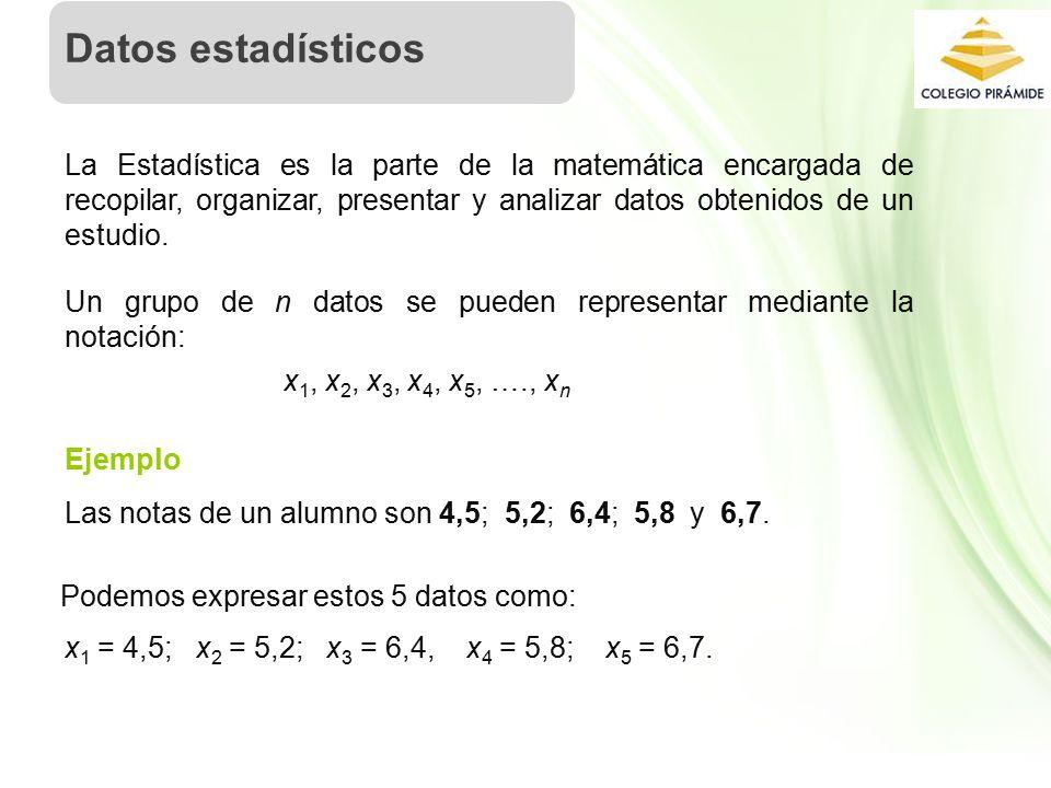 Datos estadísticos La Estadística es la parte de la matemática encargada de recopilar, organizar, presentar y analizar datos obtenidos de un estudio.