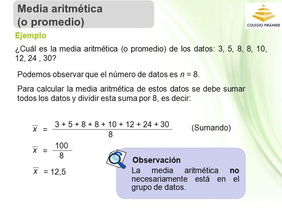 Media aritmética (o promedio) Ejemplo