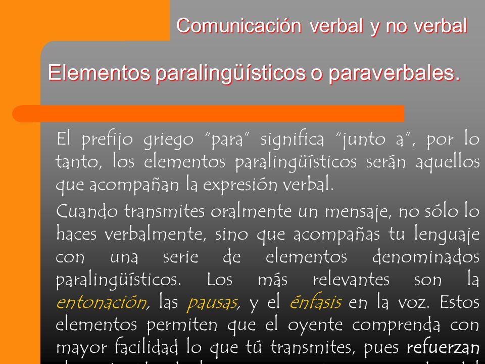 Elementos paralingüísticos o paraverbales.