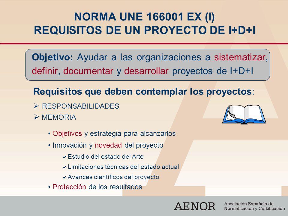 NORMA UNE 166001 EX (I) REQUISITOS DE UN PROYECTO DE I+D+I