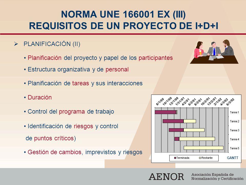 NORMA UNE 166001 EX (III) REQUISITOS DE UN PROYECTO DE I+D+I