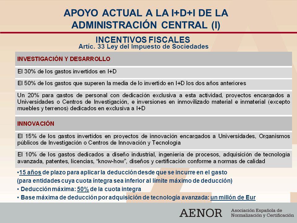 APOYO ACTUAL A LA I+D+I DE LA ADMINISTRACIÓN CENTRAL (I)