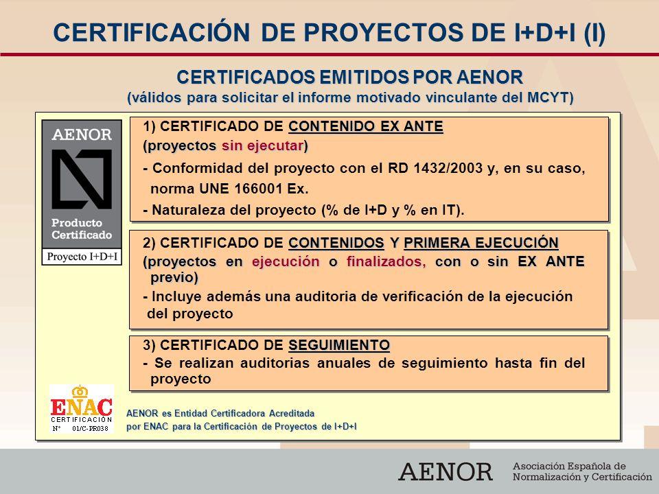 CERTIFICACIÓN DE PROYECTOS DE I+D+I (I)