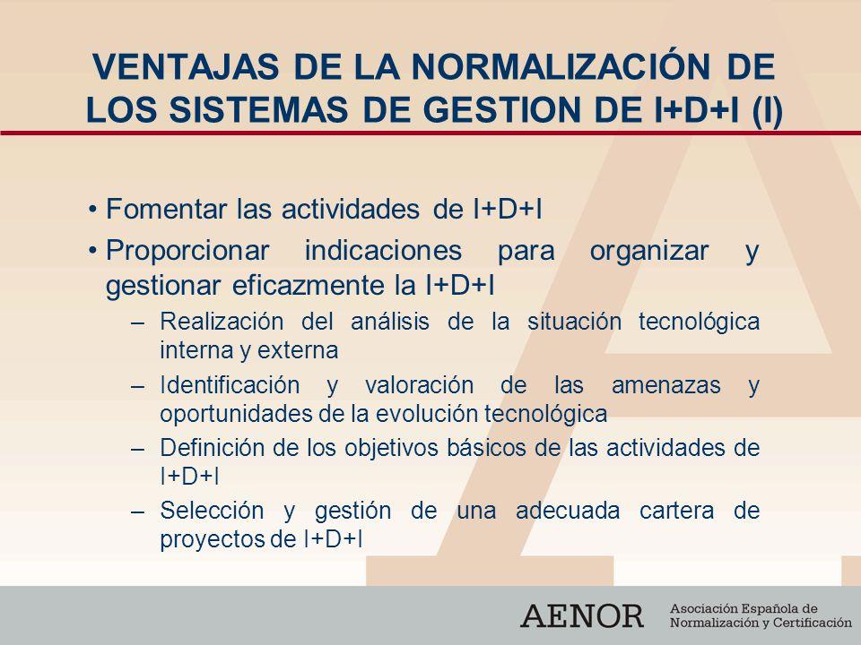VENTAJAS DE LA NORMALIZACIÓN DE LOS SISTEMAS DE GESTION DE I+D+I (I)