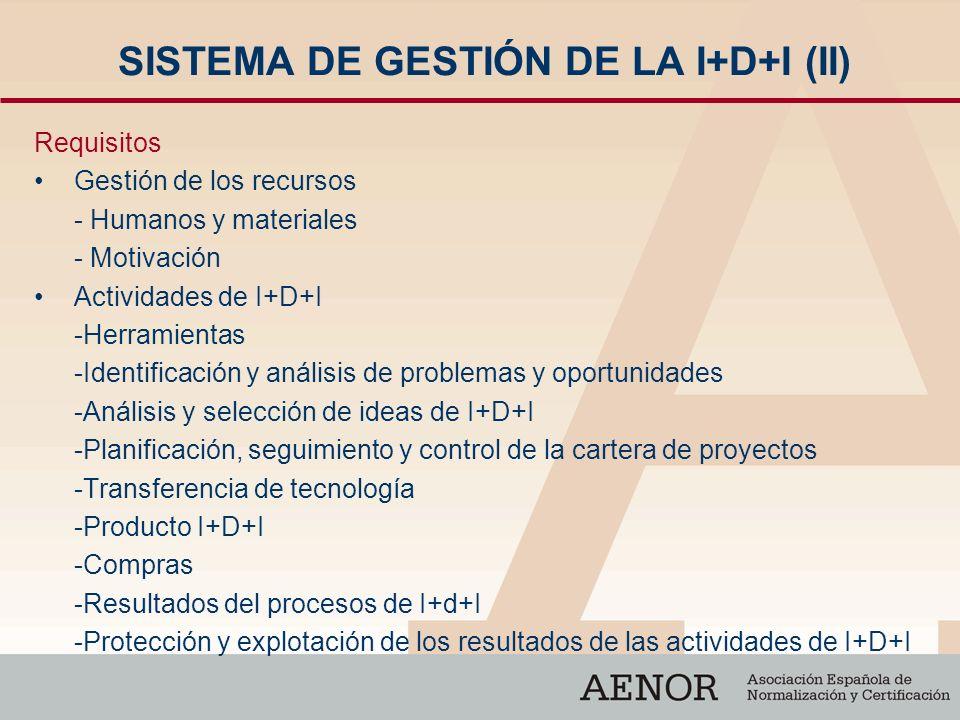SISTEMA DE GESTIÓN DE LA I+D+I (II)