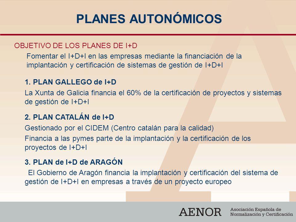 PLANES AUTONÓMICOS OBJETIVO DE LOS PLANES DE I+D