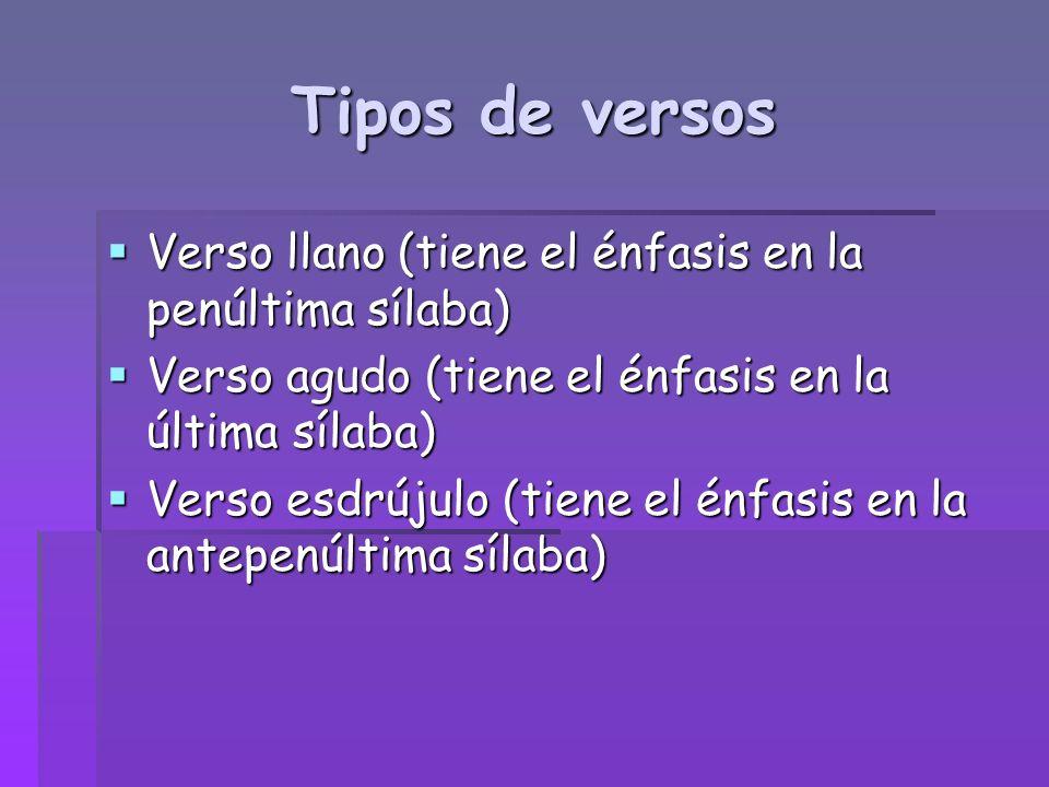 Tipos de versos Verso llano (tiene el énfasis en la penúltima sílaba)