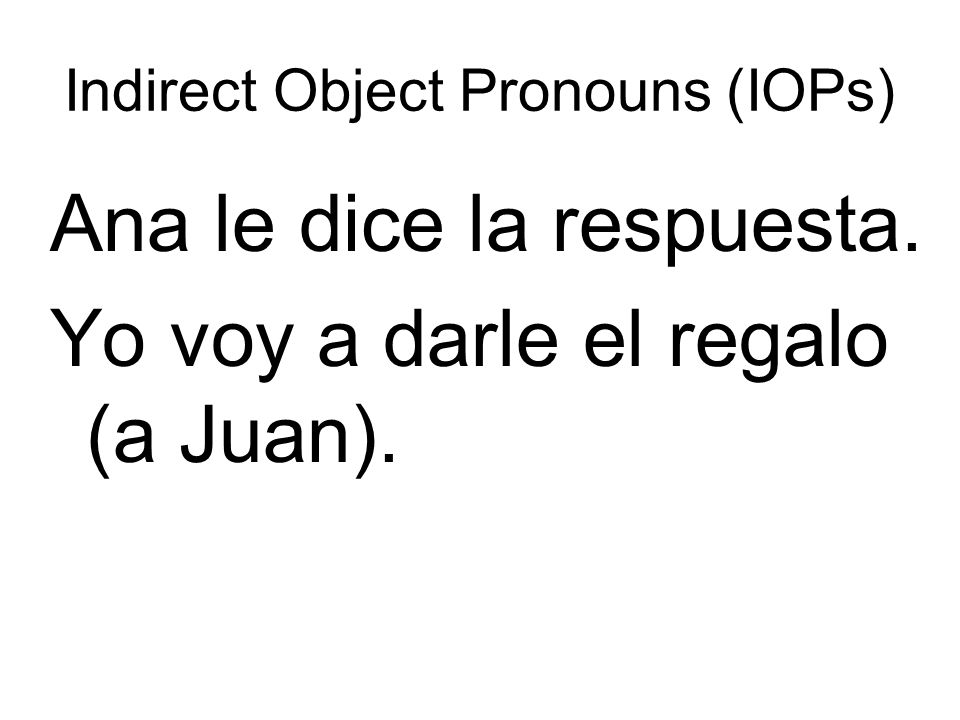 Indirect Object Pronouns (IOPs)