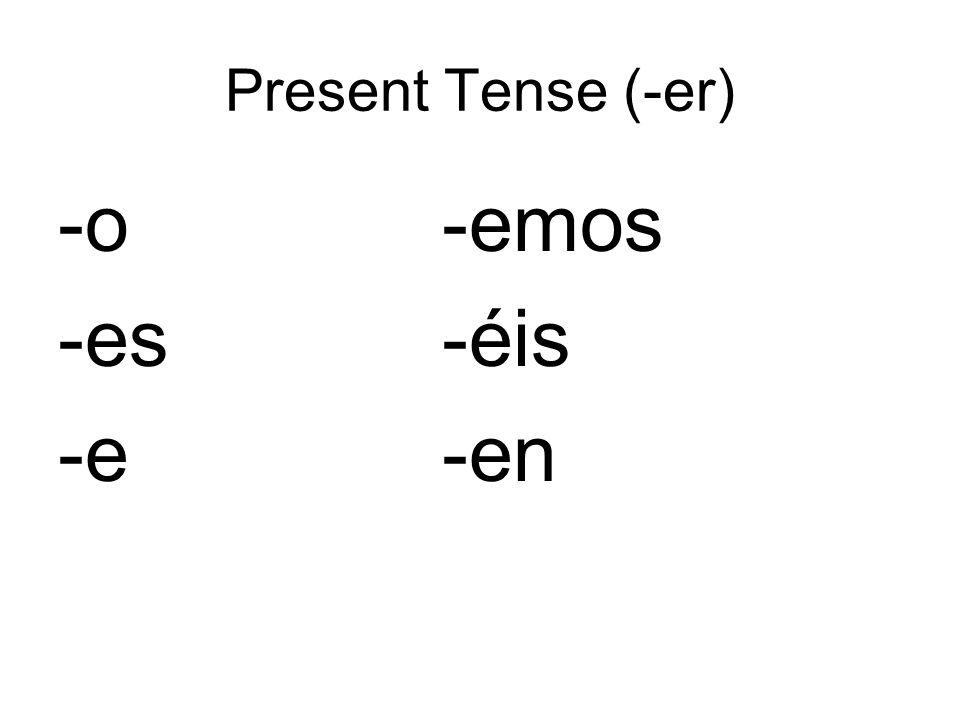 Present Tense (-er) -o -emos -es -éis -e -en